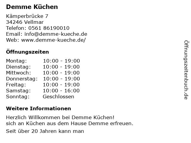 ᐅ Offnungszeiten Demme Kuchen Kemper Brucke 7 In Vellmar