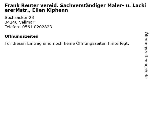 Frank Reuter vereid. Sachverständiger Maler- u. LackiererMstr., Ellen Kiphenn in Vellmar: Adresse und Öffnungszeiten