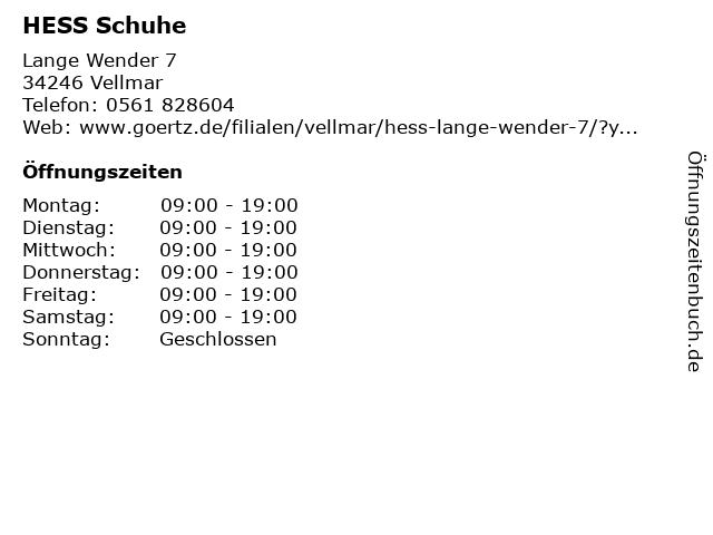 HESS Schuhe in Vellmar: Adresse und Öffnungszeiten