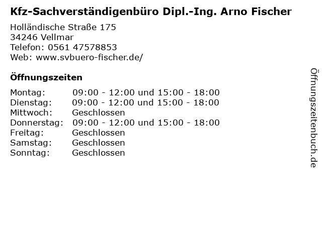 Kfz-Sachverständigenbüro Dipl.-Ing. Arno Fischer in Vellmar: Adresse und Öffnungszeiten