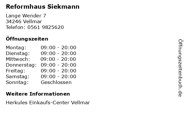 Reformhaus Siekmann in Vellmar: Adresse und Öffnungszeiten