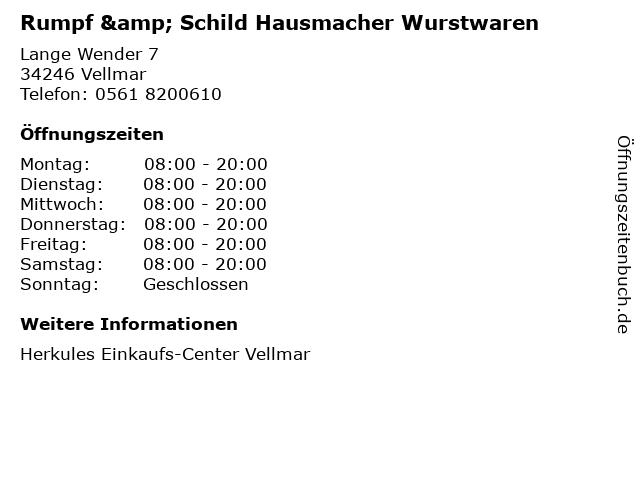 Rumpf & Schild Hausmacher Wurstwaren in Vellmar: Adresse und Öffnungszeiten