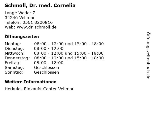 Schmoll, Dr. med. Cornelia in Vellmar: Adresse und Öffnungszeiten