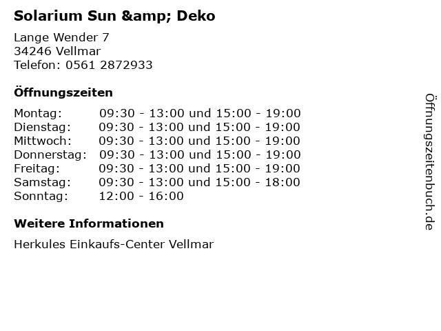 Solarium Sun & Deko in Vellmar: Adresse und Öffnungszeiten