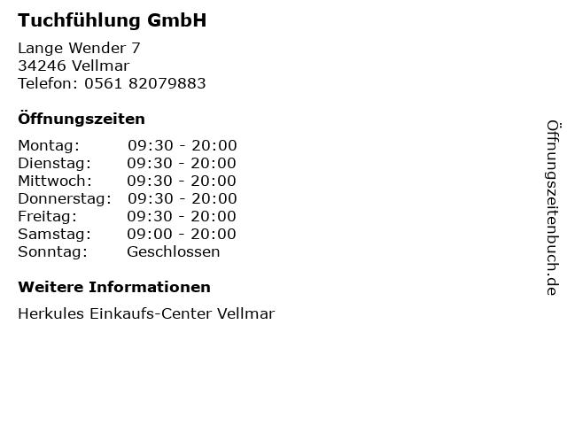 Tuchfühlung GmbH in Vellmar: Adresse und Öffnungszeiten