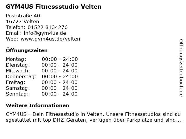 GYM4US Fitnessstudio Velten in Velten: Adresse und Öffnungszeiten