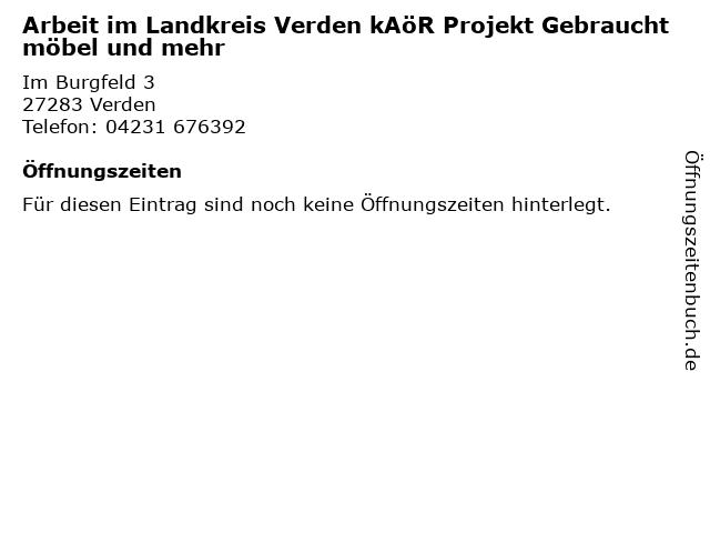 Arbeit im Landkreis Verden kAöR Projekt Gebrauchtmöbel und mehr in Verden: Adresse und Öffnungszeiten