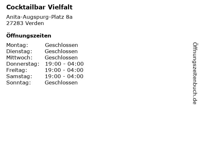 Cocktailbar Vielfalt in Verden: Adresse und Öffnungszeiten