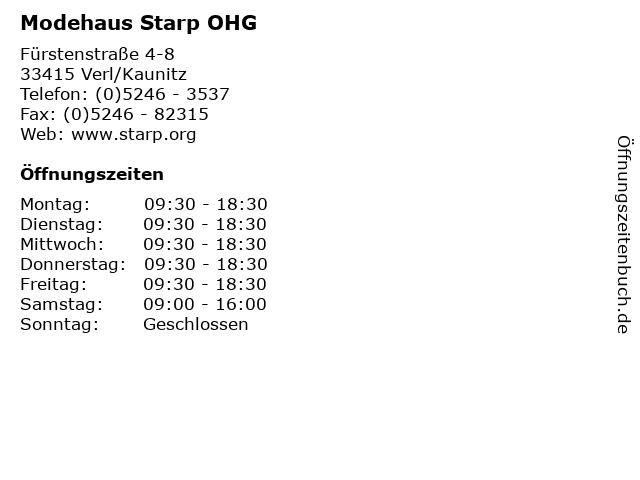 Modehaus Starp OHG in Verl/Kaunitz: Adresse und Öffnungszeiten