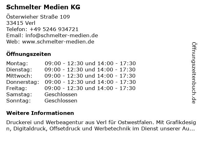 Schmelter Medien KG in Verl: Adresse und Öffnungszeiten