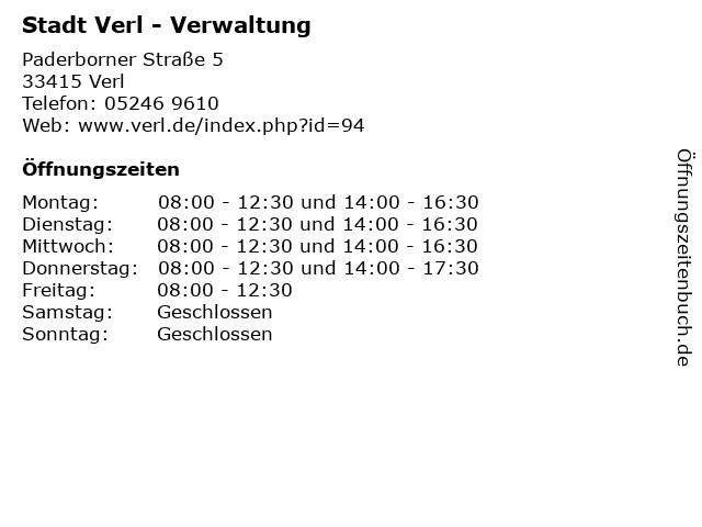 Stadt Verl - Verwaltung in Verl: Adresse und Öffnungszeiten