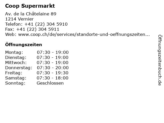 Coop Supermarkt in Vernier: Adresse und Öffnungszeiten
