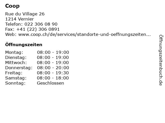 Coop in Vernier: Adresse und Öffnungszeiten