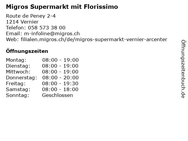 Migros Supermarkt in Vernier: Adresse und Öffnungszeiten