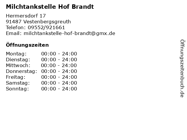 Milchtankstelle Hof Brandt in Vestenbergsgreuth: Adresse und Öffnungszeiten