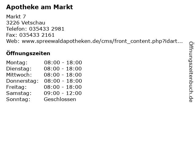 Apotheke am Markt in Vetschau: Adresse und Öffnungszeiten