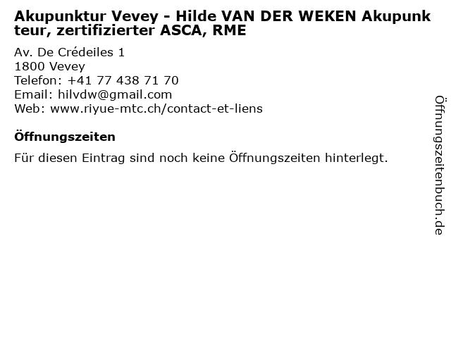 Akupunktur Vevey - Hilde VAN DER WEKEN Akupunkteur, zertifizierter ASCA, RME in Vevey: Adresse und Öffnungszeiten