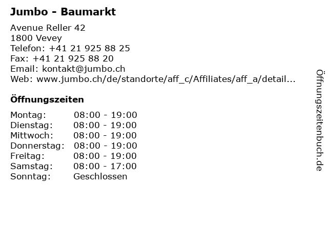 Jumbo - Baumarkt in Vevey: Adresse und Öffnungszeiten