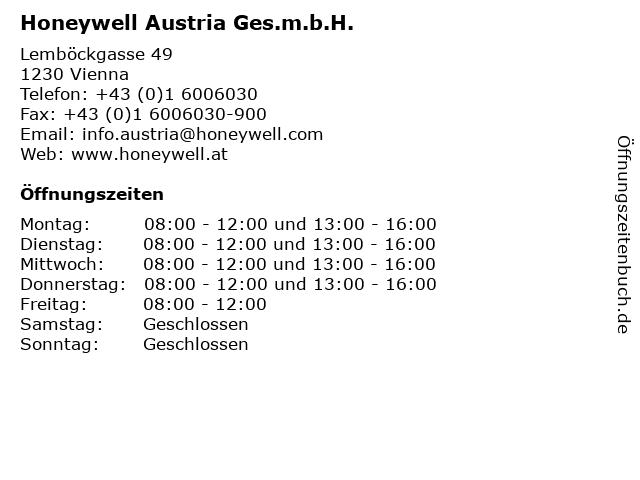 Honeywell Austria Ges.m.b.H. in Vienna: Adresse und Öffnungszeiten