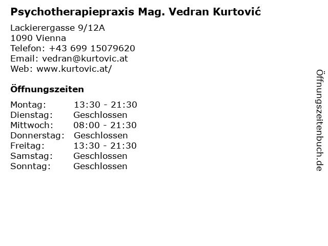 Psychotherapiepraxis Mag. Vedran Kurtović in Vienna: Adresse und Öffnungszeiten