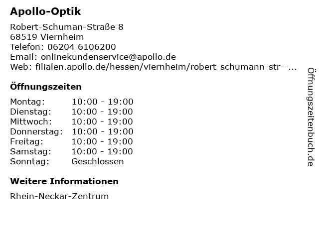 Apollo-Optik Holding GmbH & Co. KG in Viernheim: Adresse und Öffnungszeiten