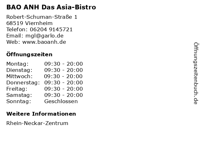 BAO ANH Das Asia-Bistro in Viernheim: Adresse und Öffnungszeiten