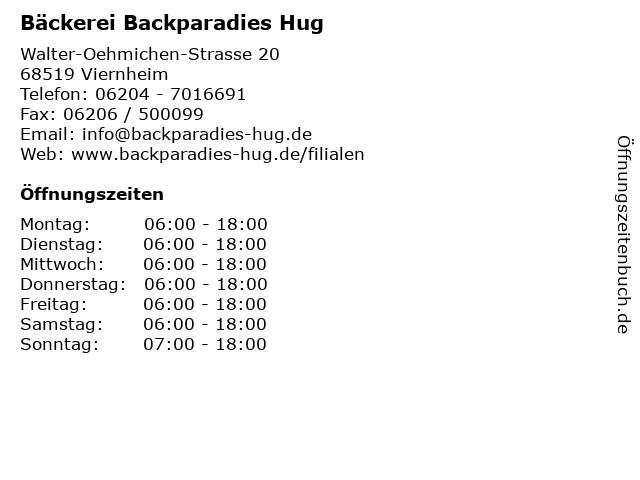 Bäckerei Backparadies Hug in Viernheim: Adresse und Öffnungszeiten