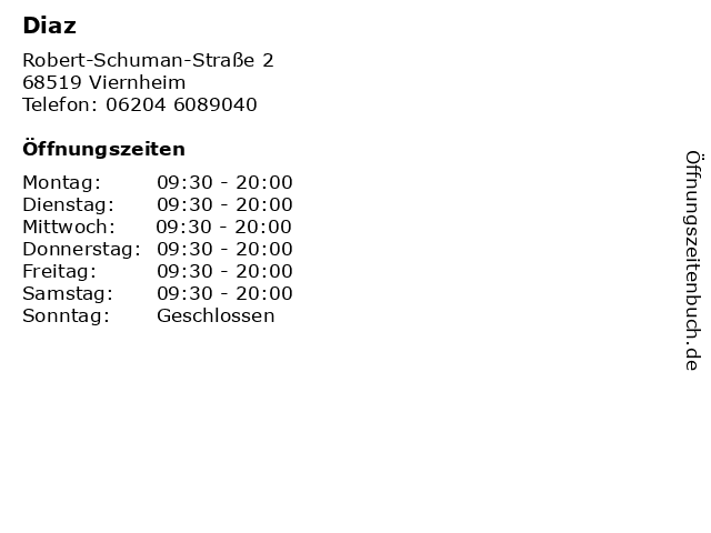 Diaz in Viernheim: Adresse und Öffnungszeiten