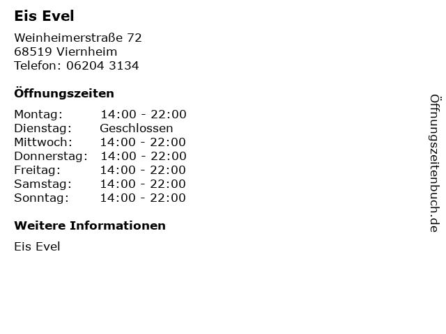 Eis Evel in Viernheim: Adresse und Öffnungszeiten