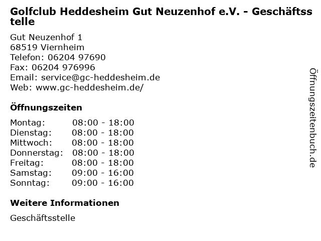 Golfclub Heddesheim Gut Neuzenhof e.V. - Geschäftsstelle in Viernheim: Adresse und Öffnungszeiten