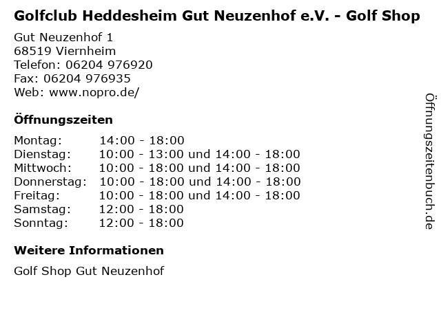 Golfclub Heddesheim Gut Neuzenhof e.V. - Golf Shop in Viernheim: Adresse und Öffnungszeiten