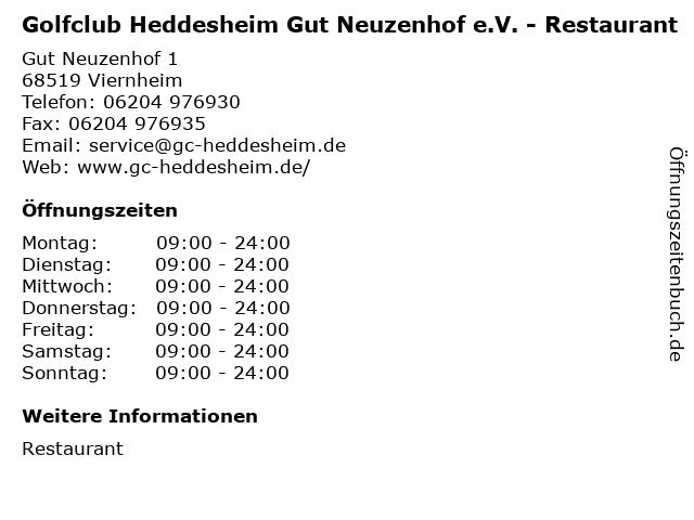 Golfclub Heddesheim Gut Neuzenhof e.V. - Restaurant in Viernheim: Adresse und Öffnungszeiten