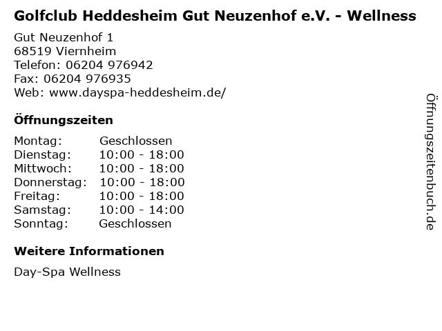 Golfclub Heddesheim Gut Neuzenhof e.V. - Wellness in Viernheim: Adresse und Öffnungszeiten