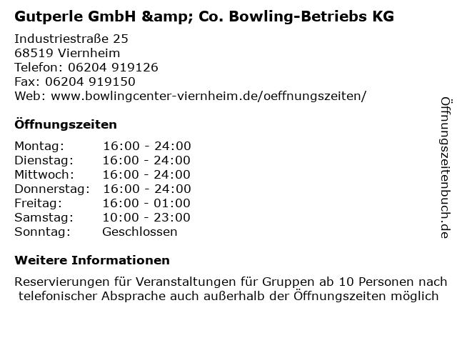 Gutperle GmbH & Co. Bowling-Betriebs KG in Viernheim: Adresse und Öffnungszeiten