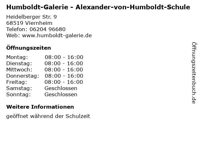 Humboldt-Galerie - Alexander-von-Humboldt-Schule in Viernheim: Adresse und Öffnungszeiten