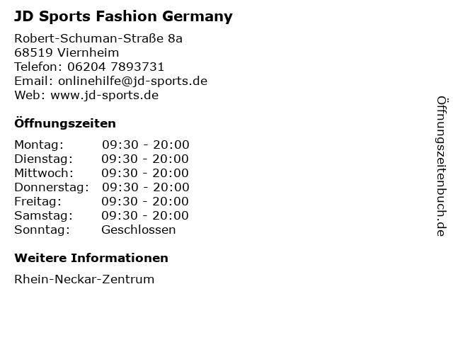 JD Sports Fashion Germany in Viernheim: Adresse und Öffnungszeiten