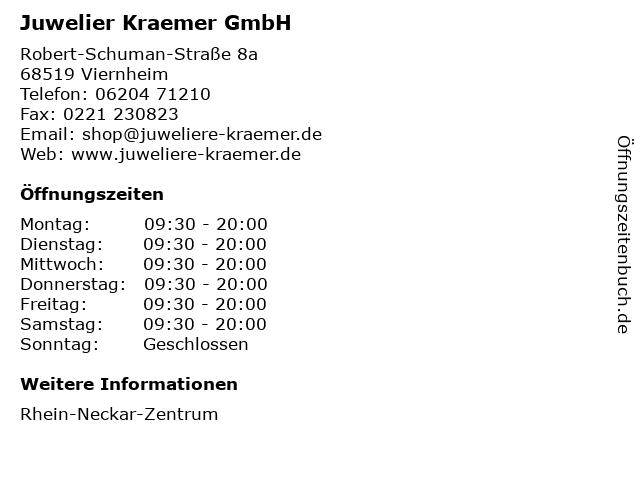 Juwelier Kraemer GmbH in Viernheim: Adresse und Öffnungszeiten
