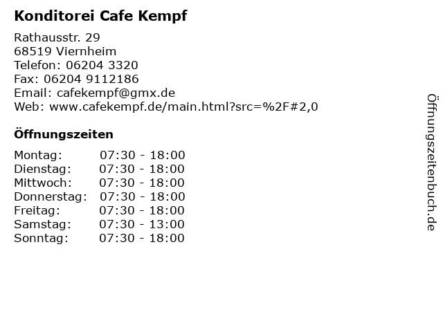 Konditorei Cafe Kempf in Viernheim: Adresse und Öffnungszeiten