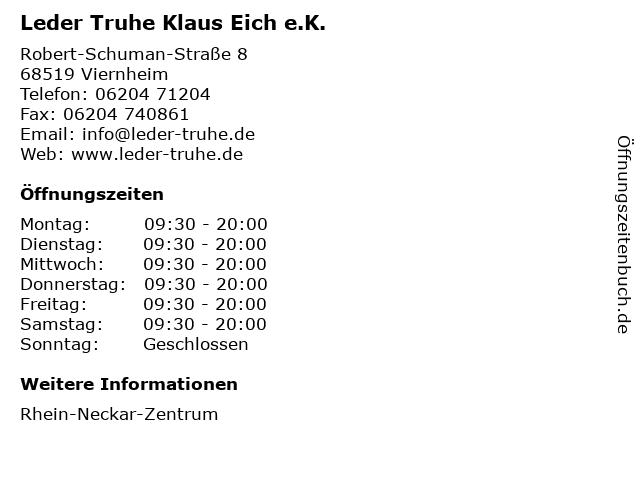 Leder Truhe Klaus Eich e.K. in Viernheim: Adresse und Öffnungszeiten
