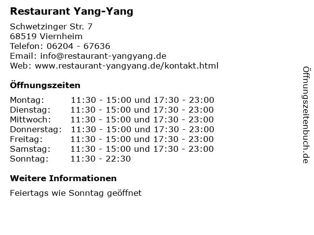 Restaurant Yang-Yang in Viernheim: Adresse und Öffnungszeiten