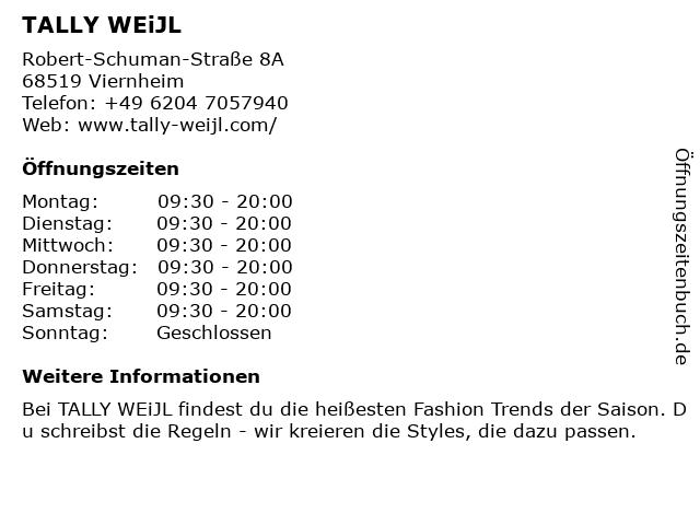 TALLY WEiJL in Viernheim: Adresse und Öffnungszeiten