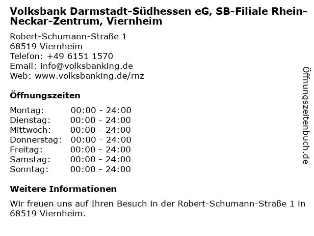 Volksbank Darmstadt-Südhessen eG, SB-Filiale Rhein-Neckar-Zentrum, Viernheim in Viernheim: Adresse und Öffnungszeiten