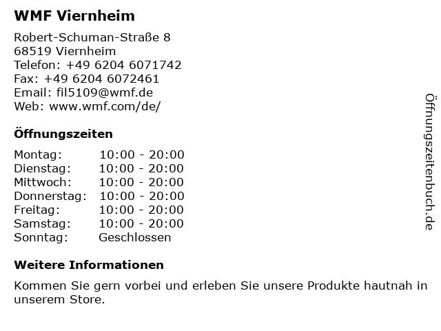 WMF in Viernheim: Adresse und Öffnungszeiten