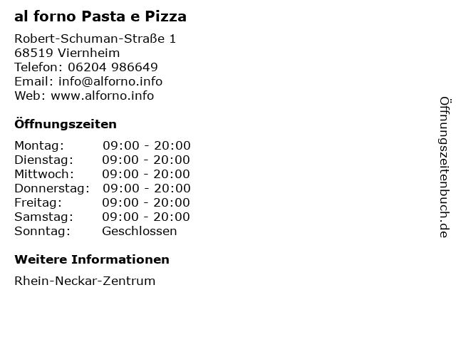 al forno Pasta e Pizza in Viernheim: Adresse und Öffnungszeiten