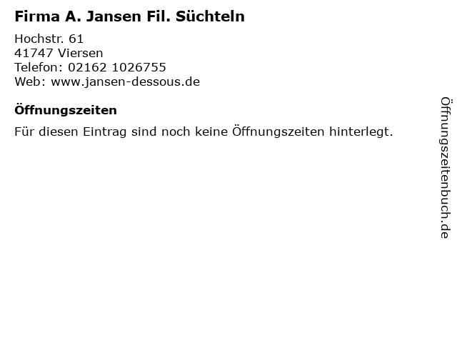 Firma A. Jansen Fil. Süchteln in Viersen: Adresse und Öffnungszeiten