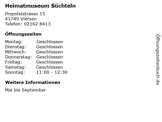 Heimatmuseum Süchteln in Viersen: Adresse und Öffnungszeiten