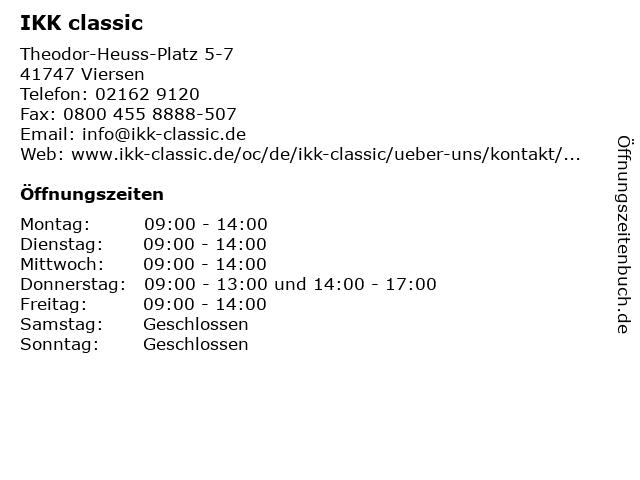 IKK classic - Servicecenter Viersen in Viersen: Adresse und Öffnungszeiten