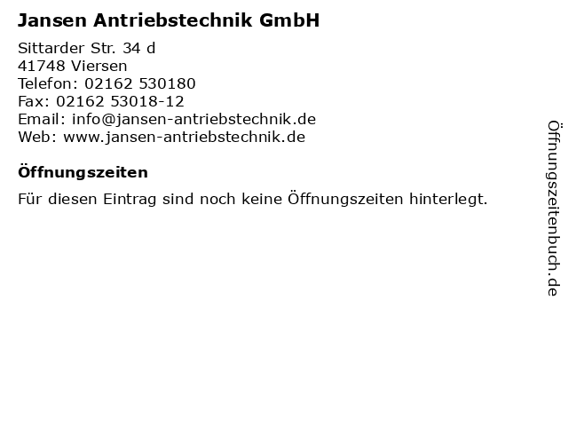 Jansen Antriebstechnik GmbH in Viersen: Adresse und Öffnungszeiten
