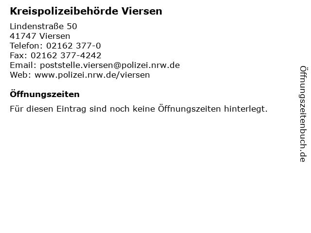 Kreispolizeibehörde Viersen in Viersen: Adresse und Öffnungszeiten