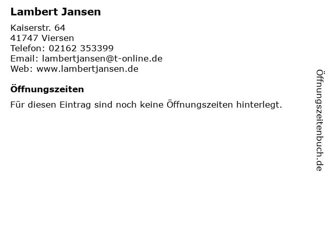Lambert Jansen in Viersen: Adresse und Öffnungszeiten